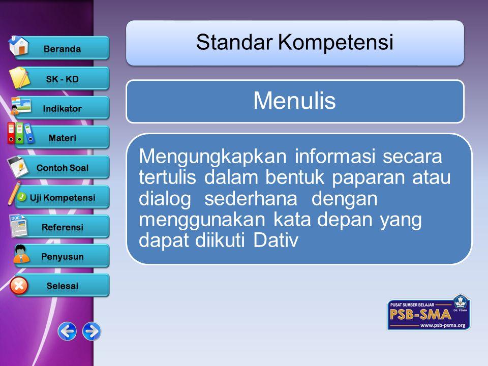 Menulis Standar Kompetensi Mengungkapkan informasi secara tertulis dalam bentuk paparan atau dialog sederhana dengan menggunakan kata depan yang dapat