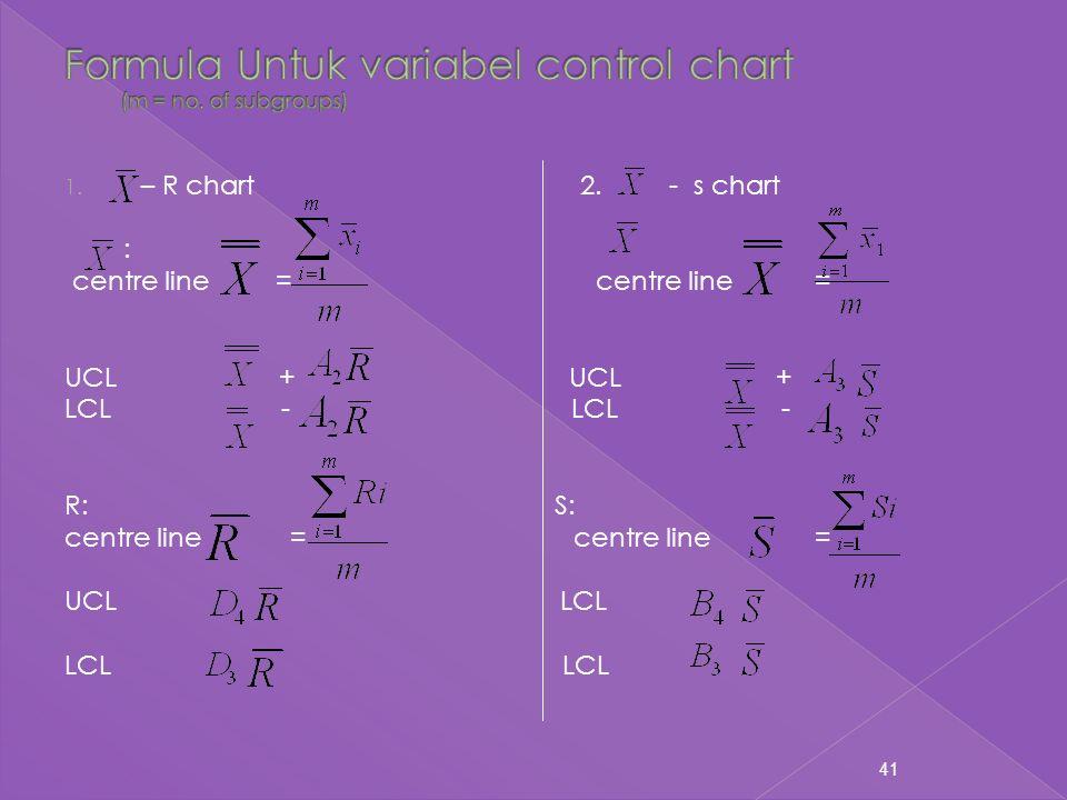 41 1. – R chart 2. - s chart : centre line = centre line = UCL + LCL - R: S: centre line = UCL LCL LCL