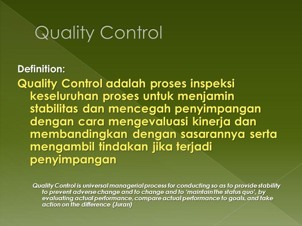 Definition: Quality Control adalah proses inspeksi keseluruhan proses untuk menjamin stabilitas dan mencegah penyimpangan dengan cara mengevaluasi kin