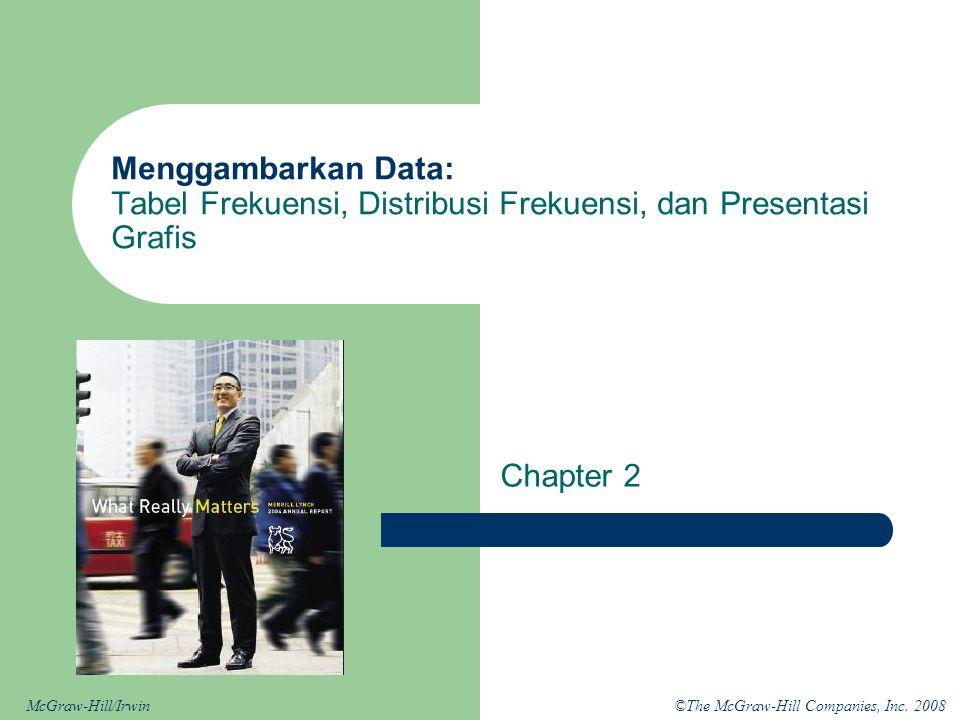 ©The McGraw-Hill Companies, Inc. 2008McGraw-Hill/Irwin Menggambarkan Data: Tabel Frekuensi, Distribusi Frekuensi, dan Presentasi Grafis Chapter 2