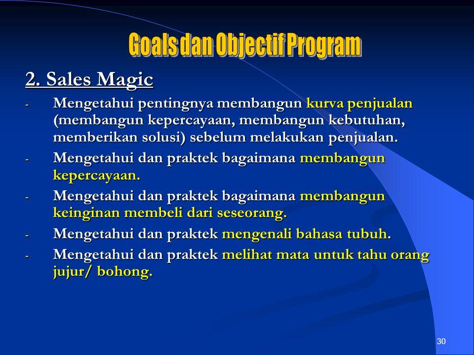 30 2. Sales Magic - Mengetahui pentingnya membangun kurva penjualan (membangun kepercayaan, membangun kebutuhan, memberikan solusi) sebelum melakukan