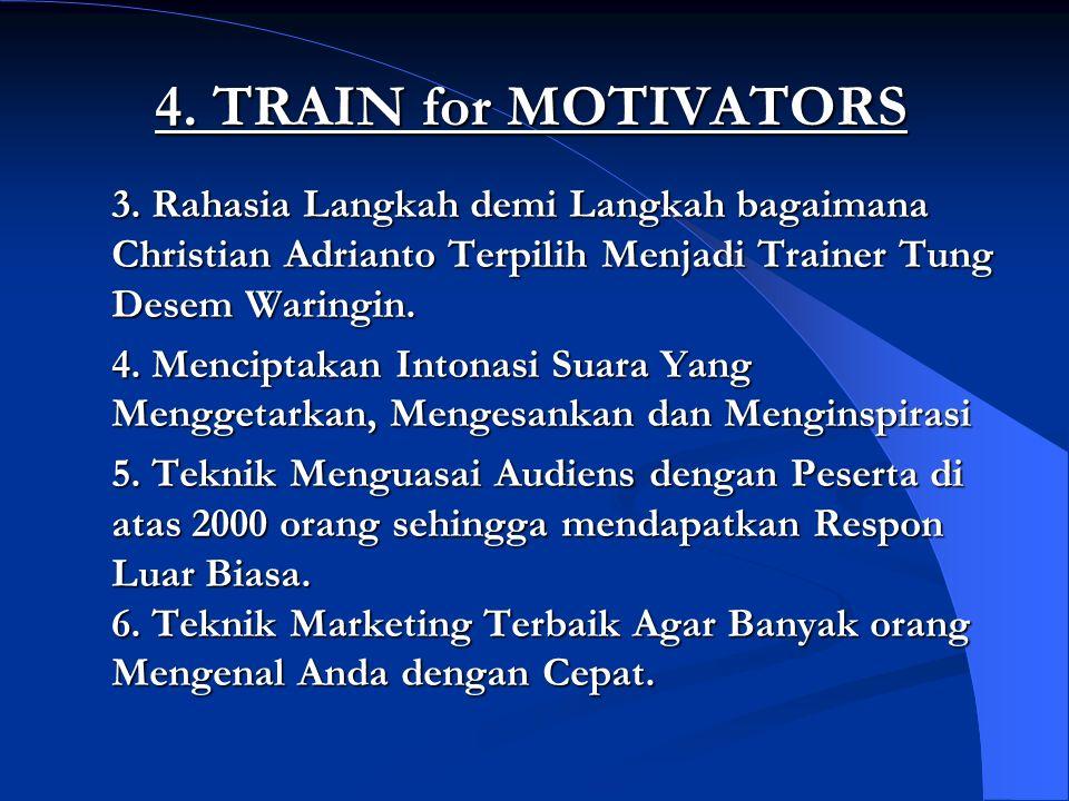 4. TRAIN for MOTIVATORS 3. Rahasia Langkah demi Langkah bagaimana Christian Adrianto Terpilih Menjadi Trainer Tung Desem Waringin. 4. Menciptakan Into