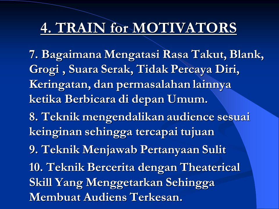 4. TRAIN for MOTIVATORS 7. Bagaimana Mengatasi Rasa Takut, Blank, Grogi, Suara Serak, Tidak Percaya Diri, Keringatan, dan permasalahan lainnya ketika