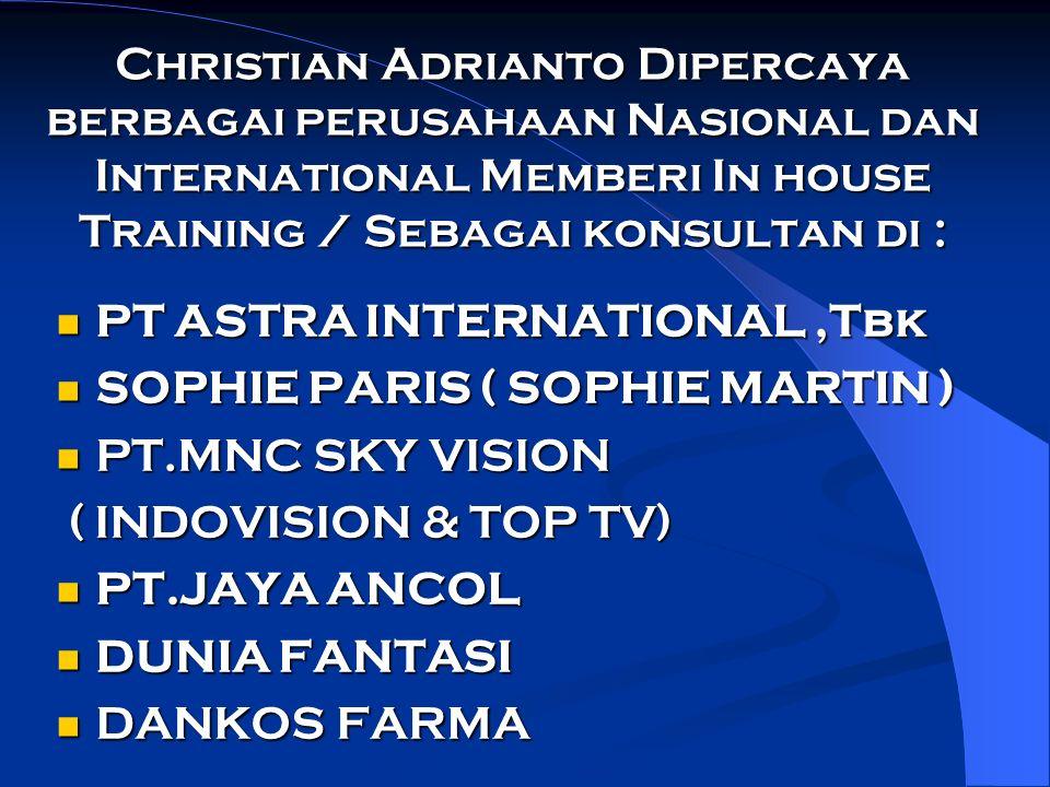 Christian Adrianto Dipercaya berbagai perusahaan Nasional dan International Memberi In house Training / Sebagai konsultan di : PT ASTRA INTERNATIONAL,