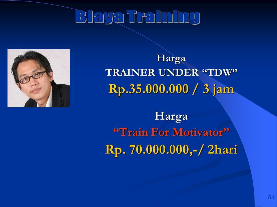 54 Harga TRAINER UNDER TDW Rp.35.000.000 / 3 jam Harga Train For Motivator Rp. 70.000.000,-/ 2hari
