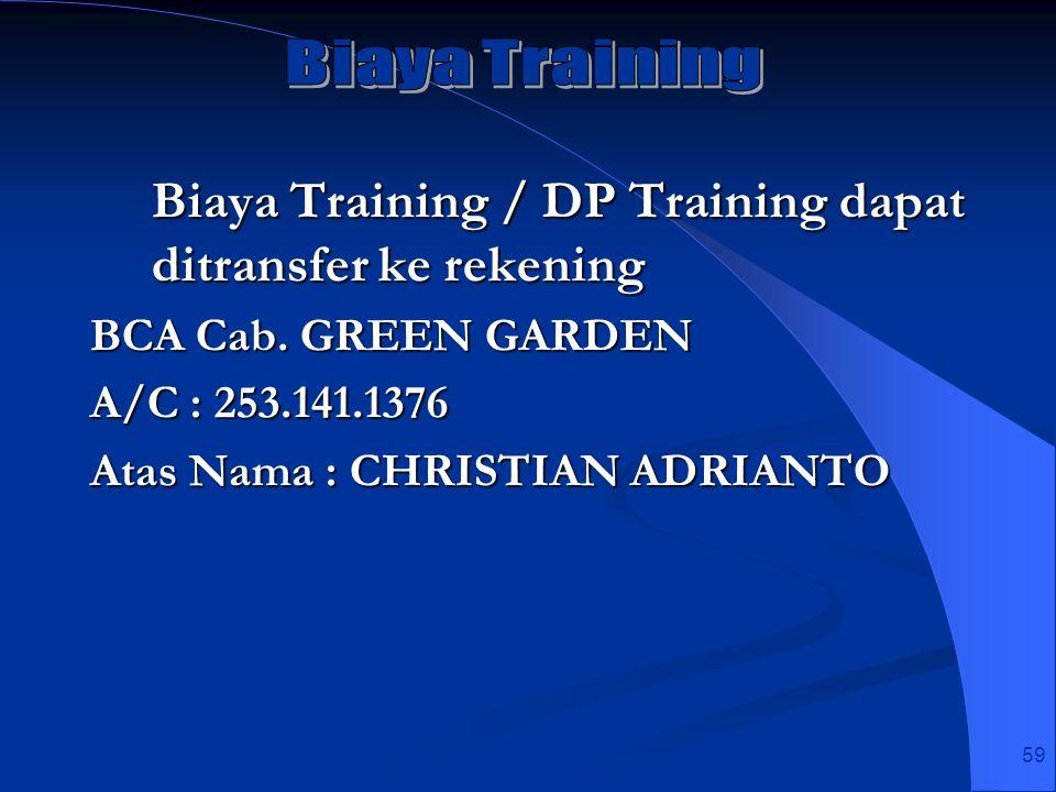 59 Biaya Training / DP Training dapat ditransfer ke rekening BCA Cab. GREEN GARDEN A/C : 253.141.1376 Atas Nama : CHRISTIAN ADRIANTO