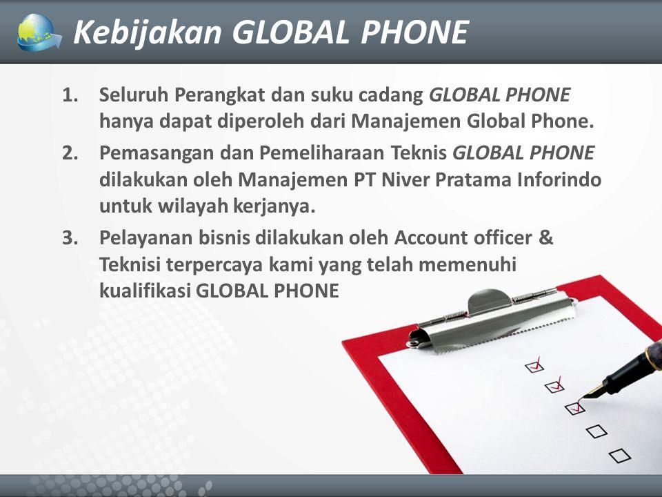 1.Seluruh Perangkat dan suku cadang GLOBAL PHONE hanya dapat diperoleh dari Manajemen Global Phone.
