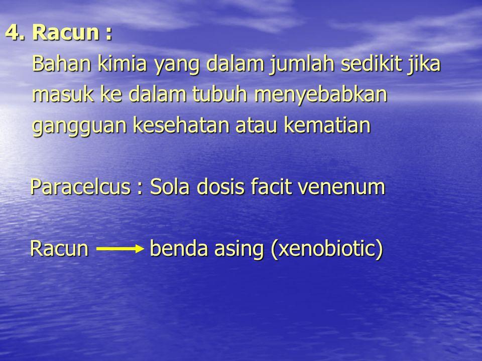 4. Racun : Bahan kimia yang dalam jumlah sedikit jika Bahan kimia yang dalam jumlah sedikit jika masuk ke dalam tubuh menyebabkan masuk ke dalam tubuh