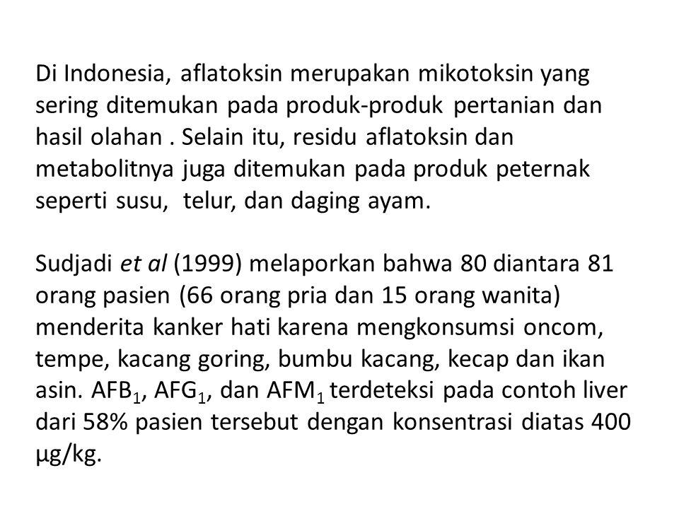 Di Indonesia, aflatoksin merupakan mikotoksin yang sering ditemukan pada produk-produk pertanian dan hasil olahan. Selain itu, residu aflatoksin dan m