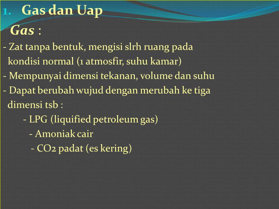 1. Gas dan Uap Gas : - Zat tanpa bentuk, mengisi slrh ruang pada kondisi normal (1 atmosfir, suhu kamar) - Mempunyai dimensi tekanan, volume dan suhu