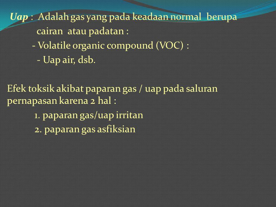 Uap : Adalah gas yang pada keadaan normal berupa cairan atau padatan : - Volatile organic compound (VOC) : - Uap air, dsb. Efek toksik akibat paparan