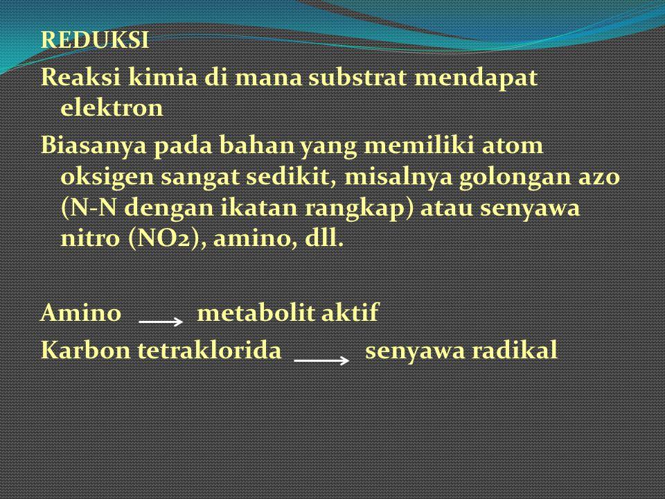 REDUKSI Reaksi kimia di mana substrat mendapat elektron Biasanya pada bahan yang memiliki atom oksigen sangat sedikit, misalnya golongan azo (N-N deng