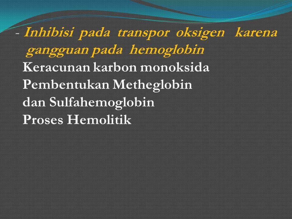 - Inhibisi pada transpor oksigen karena gangguan pada hemoglobin Keracunan karbon monoksida Pembentukan Metheglobin dan Sulfahemoglobin Proses Hemolit