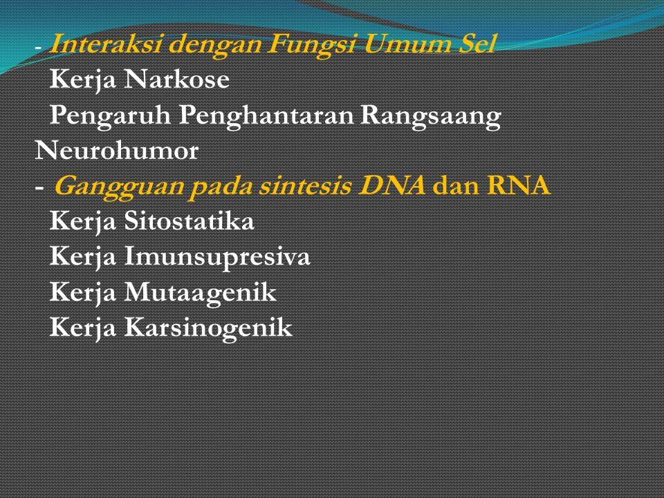 - Interaksi dengan Fungsi Umum Sel Kerja Narkose Pengaruh Penghantaran Rangsaang Neurohumor - Gangguan pada sintesis DNA dan RNA Kerja Sitostatika Ker
