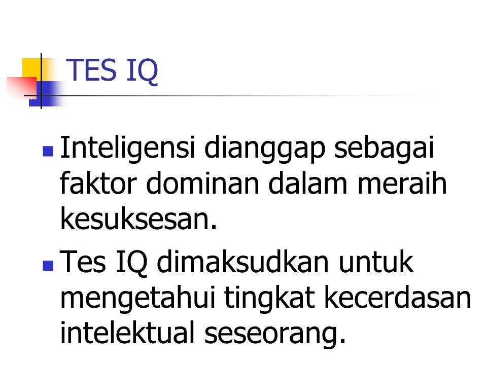 Sejarah IQ Tes IQ mulai diperkenalkan di Perancis pada tahun 1904 ketika seorang psikolog Alfred Binet ditunjuk oleh pemerintah Perancis mencari metode untuk membedakan antara anak dengan kemampuan intelektual normal dan inferior.