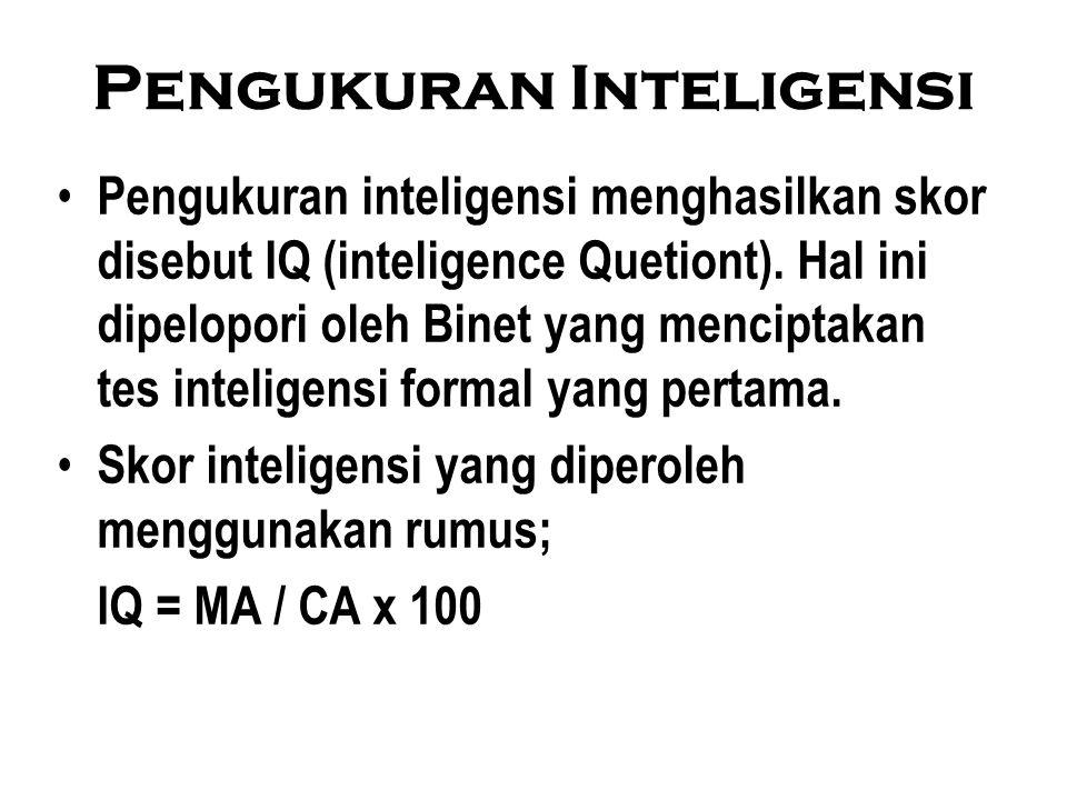 Pengukuran Inteligensi Pengukuran inteligensi menghasilkan skor disebut IQ (inteligence Quetiont).