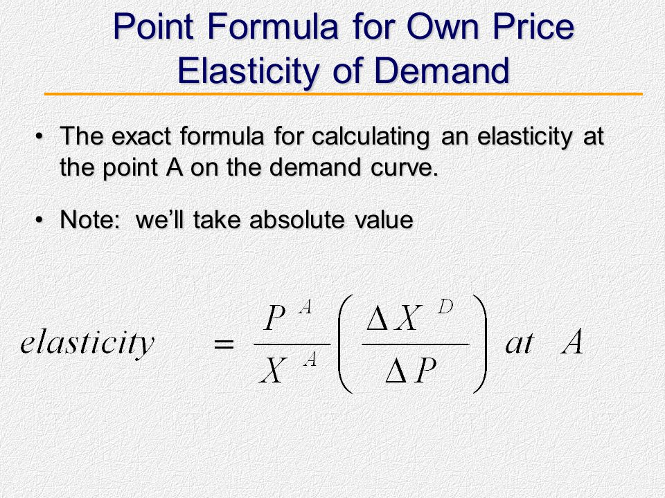 Arc Formula for Own Price Elasticity of Demand Get two points of the demand curve: Points A and B.Get two points of the demand curve: Points A and B.