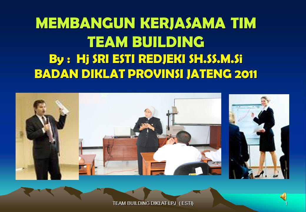 MEMBANGUN KERJASAMA TIM TEAM BUILDING By : Hj SRI ESTI REDJEKI SH.SS.M.Si BADAN DIKLAT PROVINSI JATENG 2011 1TEAM BUILDING DIKLAT LPJ ( ESTI)