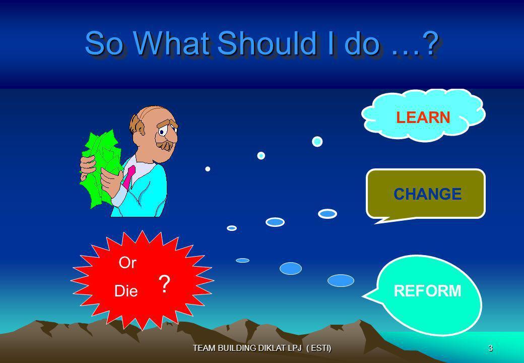 LEARN CHANGE REFORMDie ? Or So What Should I do …? 3TEAM BUILDING DIKLAT LPJ ( ESTI)