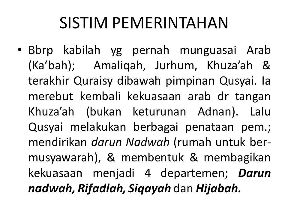 SISTIM PEMERINTAHAN Bbrp kabilah yg pernah munguasai Arab (Kabah); Amaliqah, Jurhum, Khuzaah & terakhir Quraisy dibawah pimpinan Qusyai. Ia merebut ke