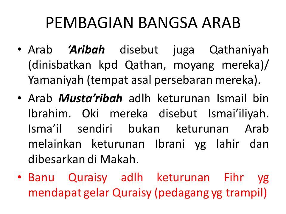 PEMBAGIAN BANGSA ARAB Arab Aribah disebut juga Qathaniyah (dinisbatkan kpd Qathan, moyang mereka)/ Yamaniyah (tempat asal persebaran mereka). Arab Mus