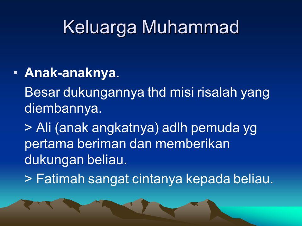 Keluarga Muhammad Anak-anaknya.Besar dukungannya thd misi risalah yang diembannya.
