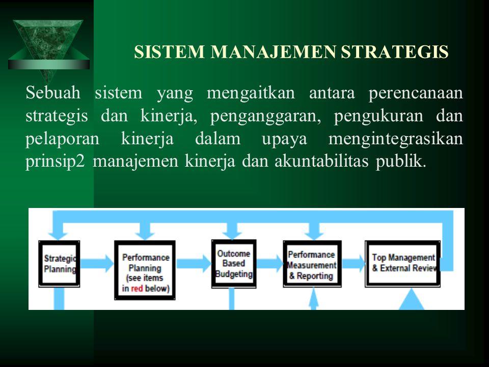 SISTEM MANAJEMEN STRATEGIS Sebuah sistem yang mengaitkan antara perencanaan strategis dan kinerja, penganggaran, pengukuran dan pelaporan kinerja dala