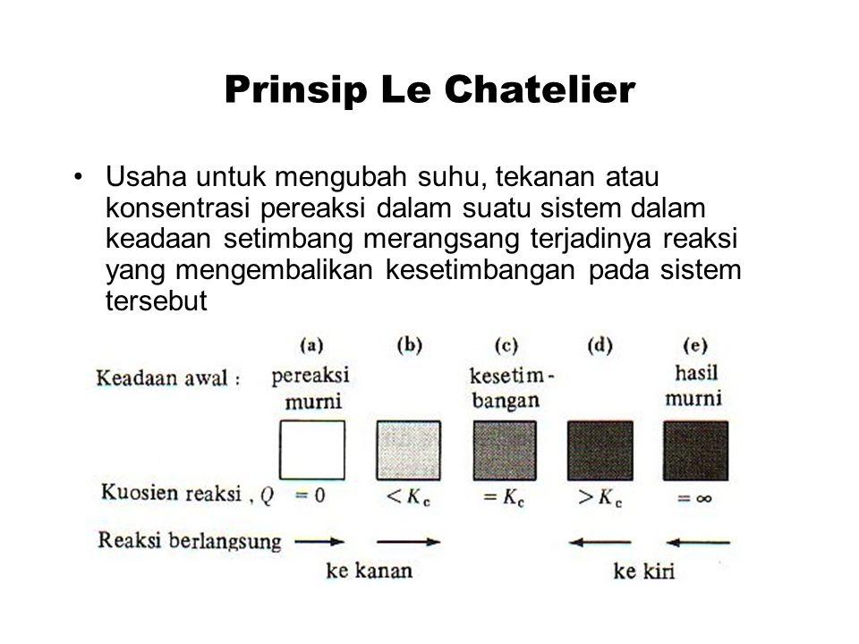 Prinsip Le Chatelier Usaha untuk mengubah suhu, tekanan atau konsentrasi pereaksi dalam suatu sistem dalam keadaan setimbang merangsang terjadinya reaksi yang mengembalikan kesetimbangan pada sistem tersebut