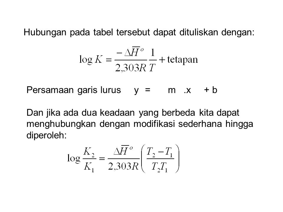 Hubungan pada tabel tersebut dapat dituliskan dengan: Persamaan garis lurus y = m.x + b Dan jika ada dua keadaan yang berbeda kita dapat menghubungkan