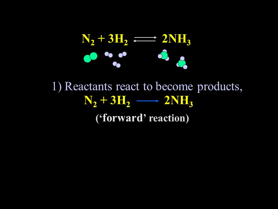 1) Reactants react to become products, N 2 + 3H 2 2NH 3 while simultaneously, N 2 + 3H 2 2NH 3 ( forward reaction) 2) Products react to become reactants N 2 + 3H 2 2NH 3 ( reverse reaction)