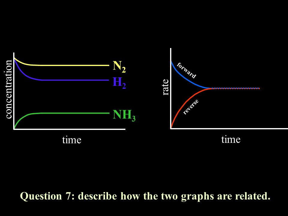 rate time Question 7: describe how the two graphs are related. concentration time N2N2 H2H2 NH 3 forward reverse