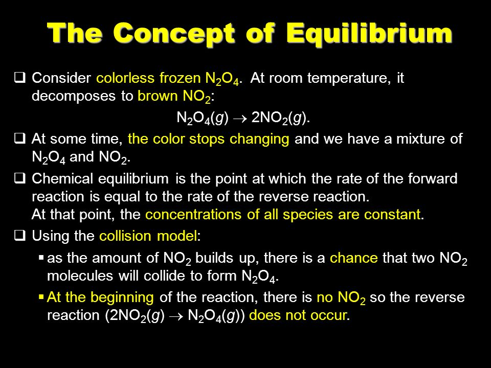 59 The Concept of Equilibrium Consider colorless frozen N 2 O 4.