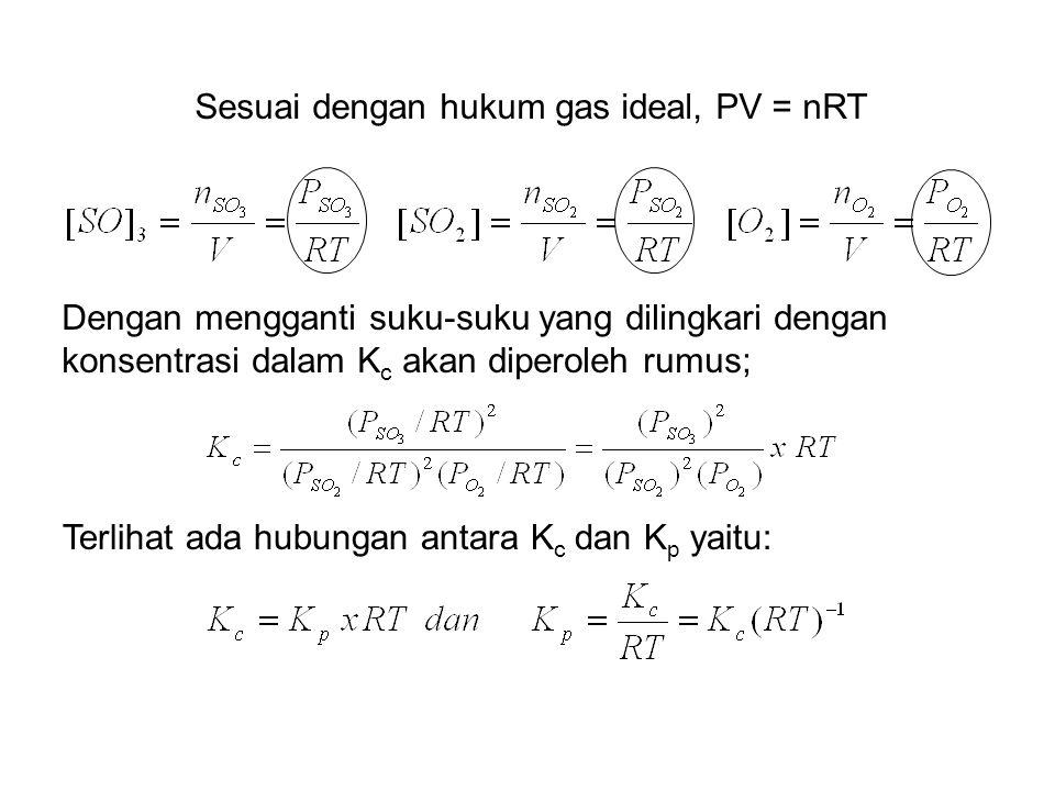 Sesuai dengan hukum gas ideal, PV = nRT Dengan mengganti suku-suku yang dilingkari dengan konsentrasi dalam K c akan diperoleh rumus; Terlihat ada hub