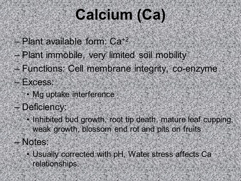 Calcium (Ca) –Plant available form: Ca +2 –Plant immobile, very limited soil mobility –Functions: Cell membrane integrity, co-enzyme –Excess: Mg uptake interference –Deficiency: Inhibited bud growth, root tip death, mature leaf cupping, weak growth, blossom end rot and pits on fruits –Notes: Usually corrected with pH, Water stress affects Ca relationships.