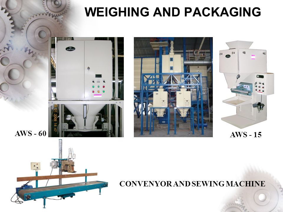 WEIGHING AND PACKAGING AWS - 60 AWS - 15 CONVENYOR AND SEWING MACHINE