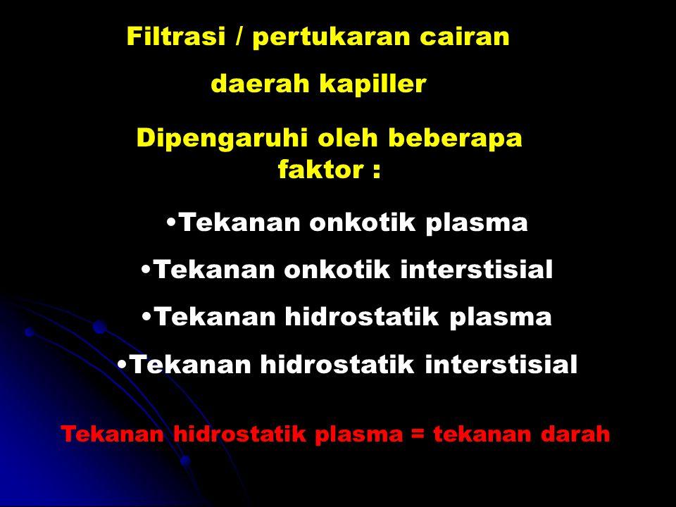 Filtrasi / pertukaran cairan daerah kapiller Dipengaruhi oleh beberapa faktor : Tekanan onkotik plasma Tekanan onkotik interstisial Tekanan hidrostati