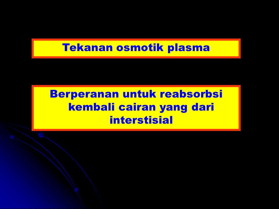 Tekanan osmotik plasma Berperanan untuk reabsorbsi kembali cairan yang dari interstisial