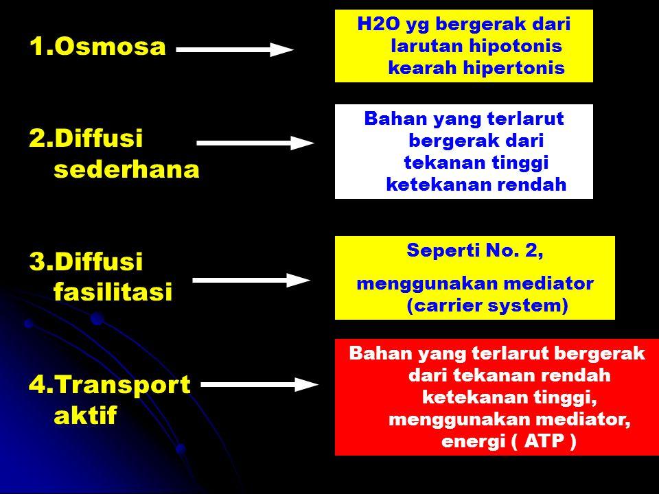 1.Osmosa 2.Diffusi sederhana 3.Diffusi fasilitasi 4.Transport aktif H2O yg bergerak dari larutan hipotonis kearah hipertonis Bahan yang terlarut berge