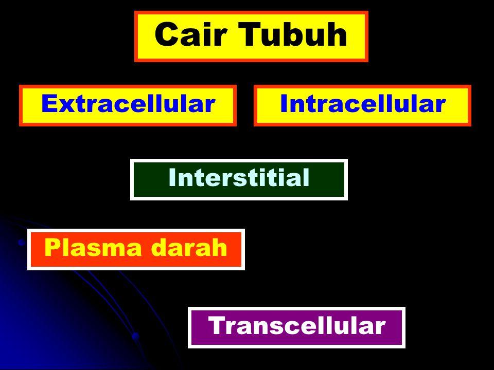 Volume % BB ( Berat Badan ) Indikator Total body water (cair tubuh total) 60 Deutrium ( D2O / 2 H 2 O ), Tritium ( 3 H 2 O ), Antipyrine Cair Ekstrasellular 20 Inulin *C 14, Thiosulfate Cair Intrasellular 40 Total body water Cair Ekstrasellular Plasma darah 5 Evans blue ( T- 1824 ), 125 I- Albumin Darah 7 – 8 51 Cr-labeled red blood cells { Volume plasma darah : ( 100 % Hct )} Cair Interstisial 15 Volume ekstrasellular Volume plasma