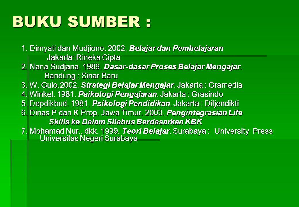 BUKU SUMBER : 1.Dimyati dan Mudjiono. 2002.