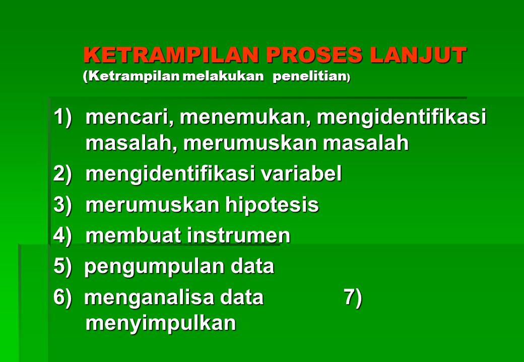 Lanjutan ketrampilan proses dasar Lanjutan ketrampilan proses dasar 4) Memprediksi ( emperkirakan kecenderungan) 5) menerapkan ( menggunakan....) 6) mengkomunikasikan ( mempresentasikan, melaporkan, memperagakan, mendiskusikan) melaporkan, memperagakan, mendiskusikan)