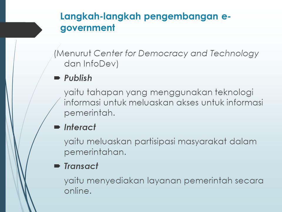 Langkah-langkah pengembangan e- government (Menurut Center for Democracy and Technology dan InfoDev)  Publish yaitu tahapan yang menggunakan teknologi informasi untuk meluaskan akses untuk informasi pemerintah.