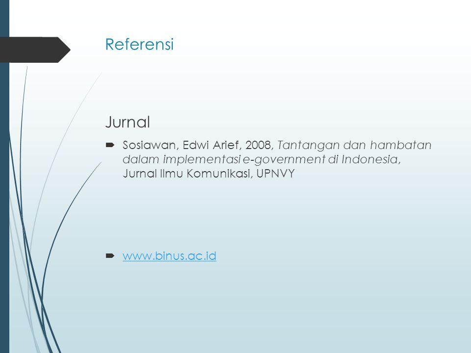 Referensi Jurnal  Sosiawan, Edwi Arief, 2008, Tantangan dan hambatan dalam implementasi e-government di Indonesia, Jurnal Ilmu Komunikasi, UPNVY  www.binus.ac.id www.binus.ac.id