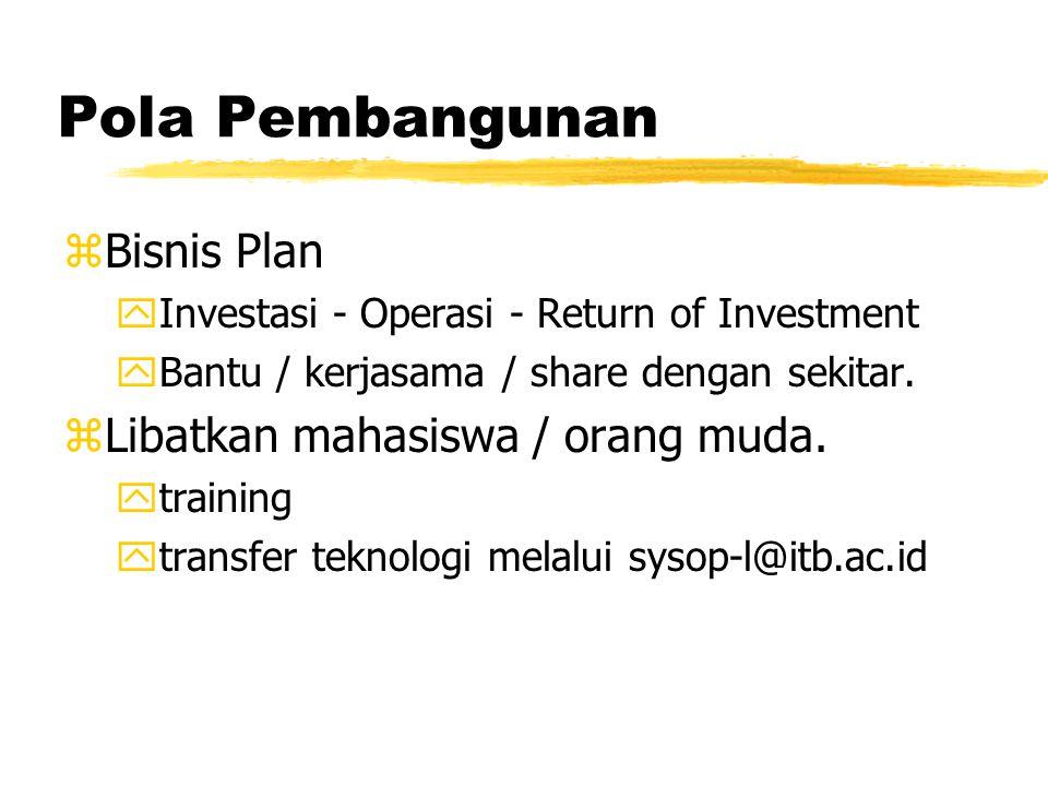 Pola Pembangunan zBisnis Plan yInvestasi - Operasi - Return of Investment yBantu / kerjasama / share dengan sekitar.