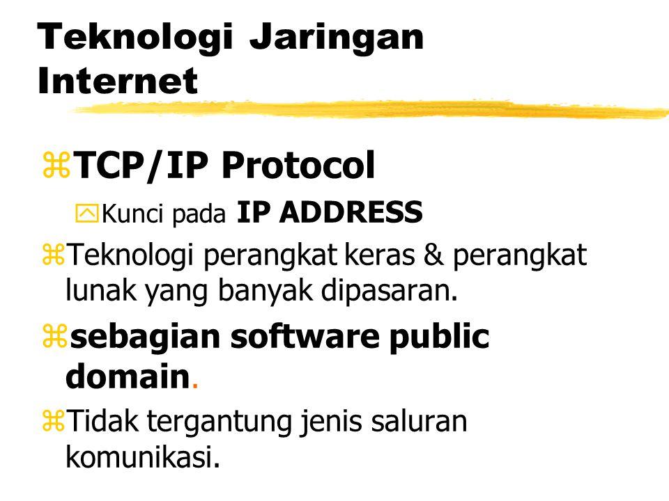 Teknologi Jaringan Internet zTCP/IP Protocol yKunci pada IP ADDRESS zTeknologi perangkat keras & perangkat lunak yang banyak dipasaran.