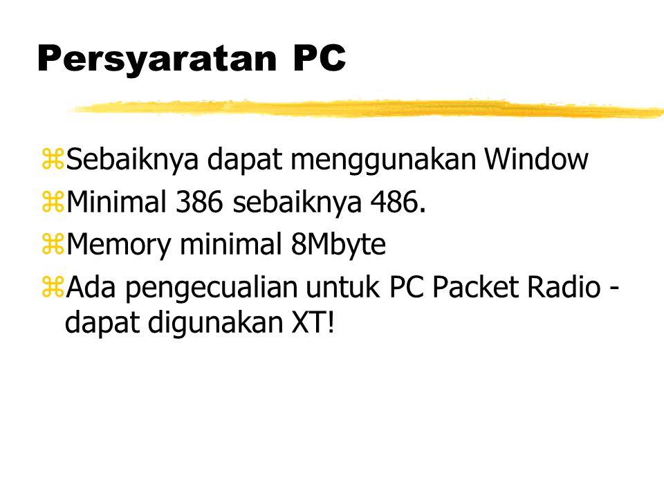 Persyaratan PC zSebaiknya dapat menggunakan Window zMinimal 386 sebaiknya 486.