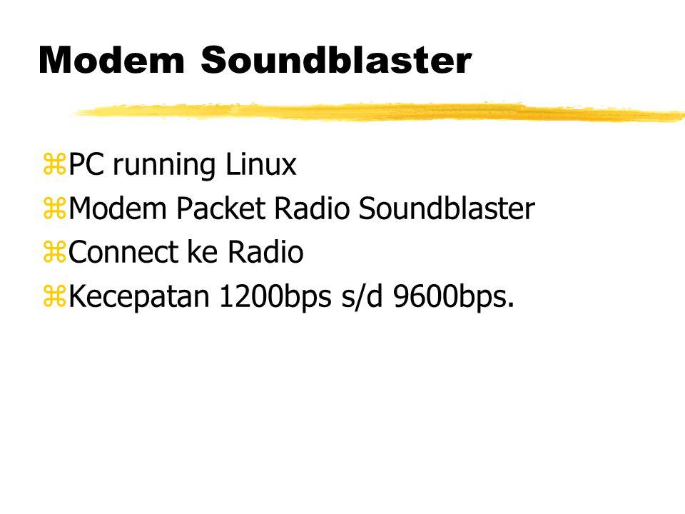 Modem Soundblaster zPC running Linux zModem Packet Radio Soundblaster zConnect ke Radio zKecepatan 1200bps s/d 9600bps.