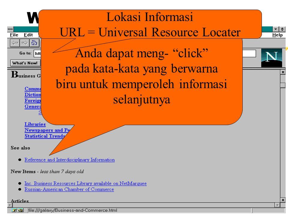 WWW Browser Anda dapat meng- click pada kata-kata yang berwarna biru untuk memperoleh informasi selanjutnya Lokasi Informasi URL = Universal Resource Locater