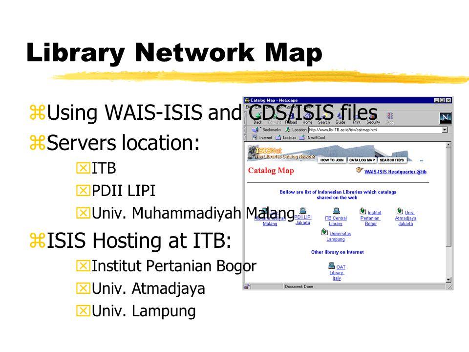 Library Network Map zUsing WAIS-ISIS and CDS/ISIS files zServers location: xITB xPDII LIPI xUniv. Muhammadiyah Malang zISIS Hosting at ITB: xInstitut