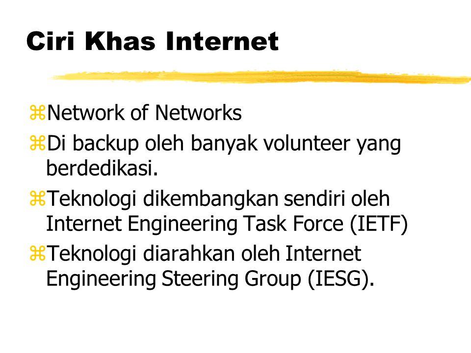 Ciri Khas Internet zNetwork of Networks zDi backup oleh banyak volunteer yang berdedikasi.